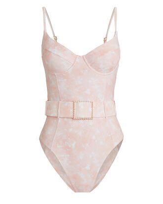 Danielle Marbled One-Piece Swimsuit, PINK, hi-res