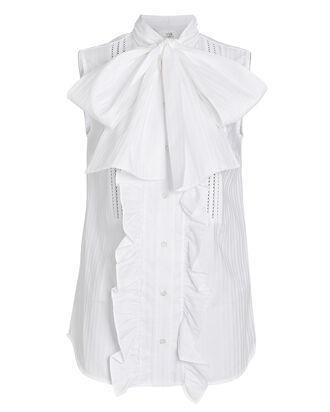 Ruffled Poplin Tie-Neck Top, , hi-res