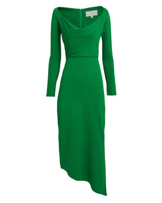 Off Shoulder Crepe Suiting Dress, EMERALD GREEN, hi-res