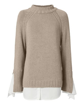 Remi Tie Cuff Layered Sweater, BEIGE/KHAKI, hi-res