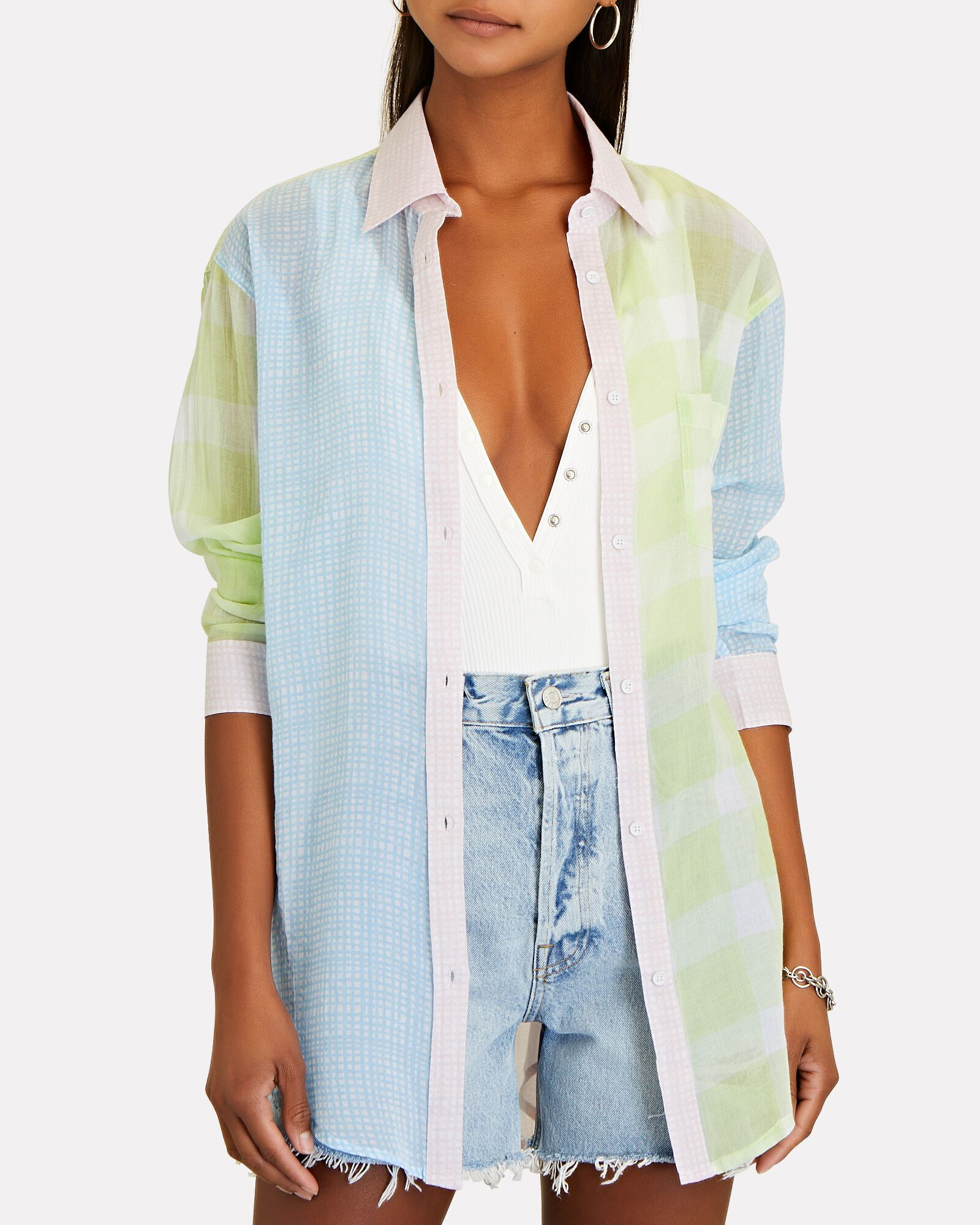Gingham Oversized Button-Down Shirt, BLUE/GREEN/PINK, hi-res