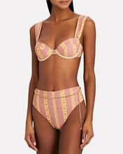 Emily Belted Bikini Bottoms, CORAL/YELLOW, hi-res