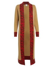 Anita Zebra-Trimmed Cashmere Duster, BROWN, hi-res
