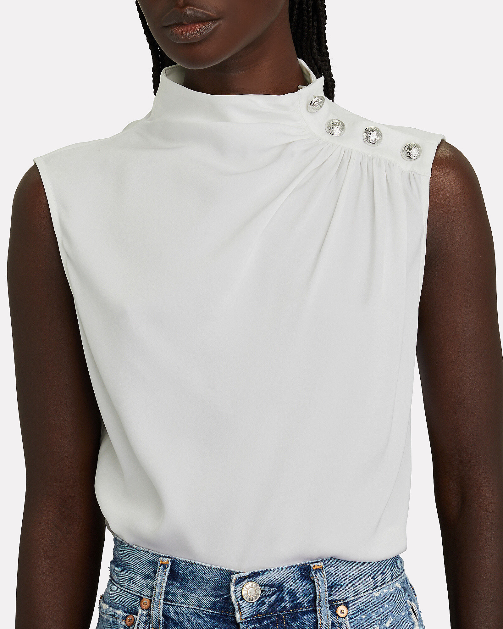 Cherie Sleeveless Silk Turtleneck Top, IVORY, hi-res