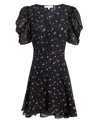 Cora Mini Dress, BLACK/FLORAL, hi-res