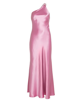 Roxy One-Shoulder Silk Gown, PINK, hi-res