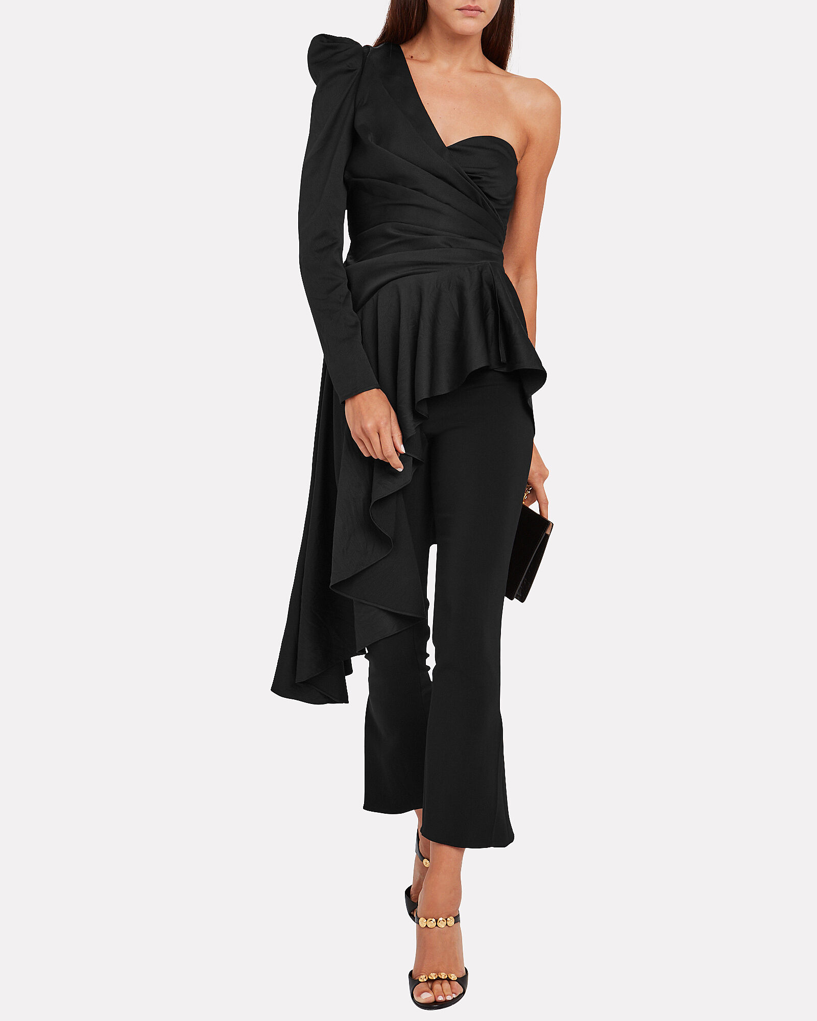 Roma Asymmetrical One-Shoulder Top, BLACK, hi-res