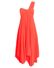 Marbury Pleated Dress, NEON ORANGE, hi-res