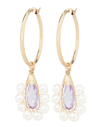 Lavender Lolita Pearl Earrings, GOLD/LAVENDER, hi-res