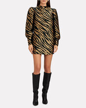 Elisa Zebra Stripe Mini Dress, BEIGE, hi-res
