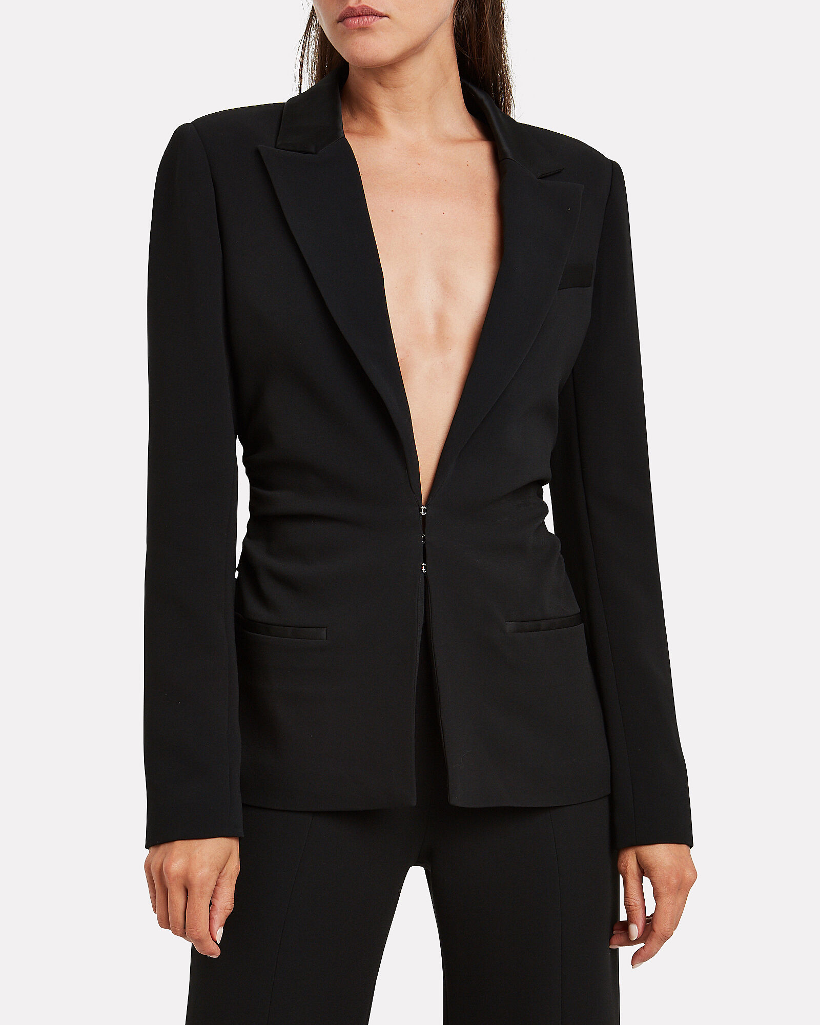 Crepe Satin Slim Blazer, BLACK, hi-res