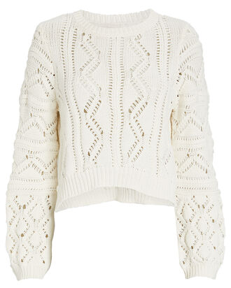 Madelyn Cropped Pointelle Sweater, IVORY, hi-res