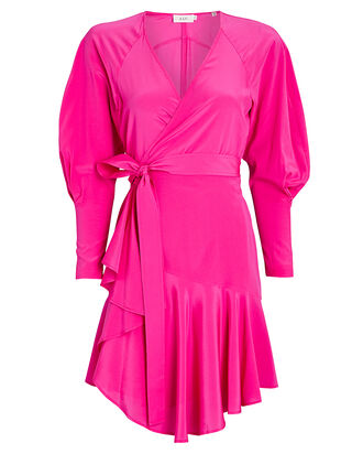 Enzo Silk Wrap Dress, PINK, hi-res