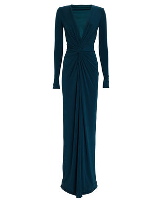 In A Mood Draped Jersey Gown, BLUE-LT, hi-res