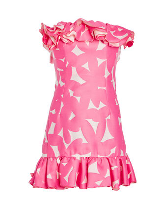 Ruffled Strapless Floral Printed Dress, PINK/WHITE FLORAL, hi-res