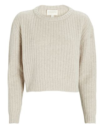 Cropped Wool-Cashmere Sweater, IVORY, hi-res