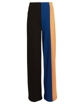 Connor Colorblock Knit Wide-Leg Pants, Black/Navy/Yellow, hi-res
