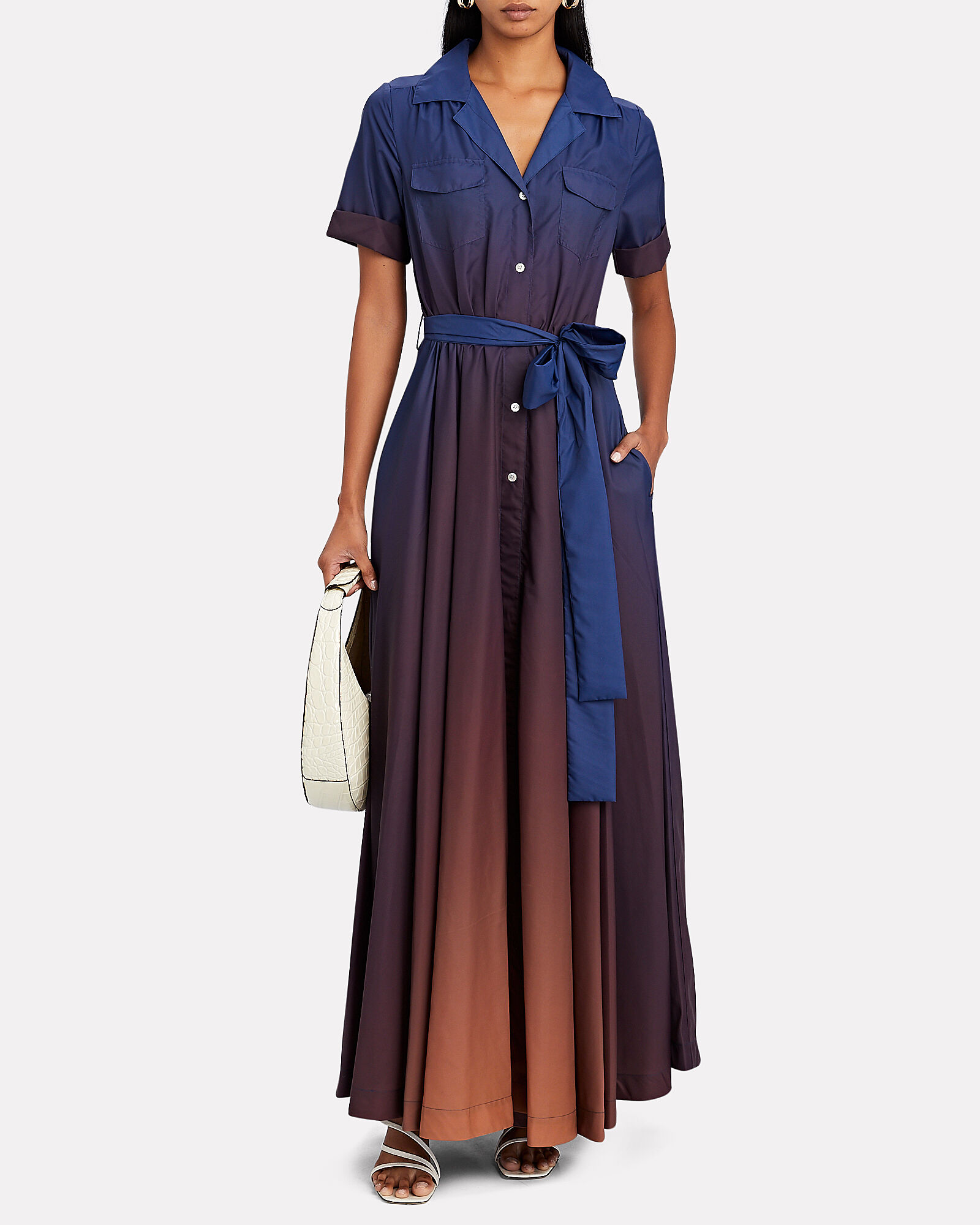 Millie Belted Maxi Shirt Dress, NAVY/BROWN, hi-res