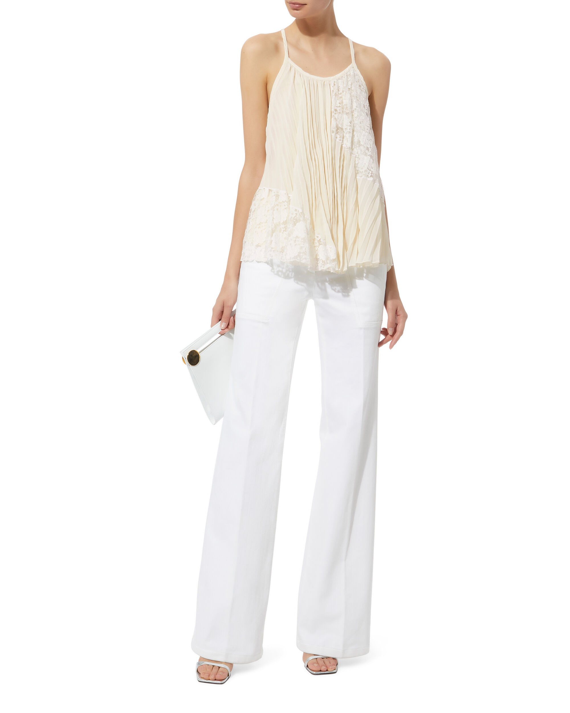 Pleated Lace Top, BEIGE, hi-res