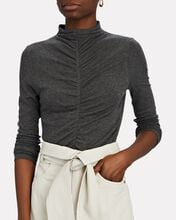 Theresa Ruched Turtleneck Top, GREY, hi-res