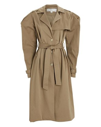 Blythe Puff Sleeve Trench Coat, BEIGE, hi-res