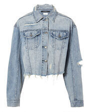 Daggerz Distressed Cropped Denim Jacket, BLUE-LT, hi-res