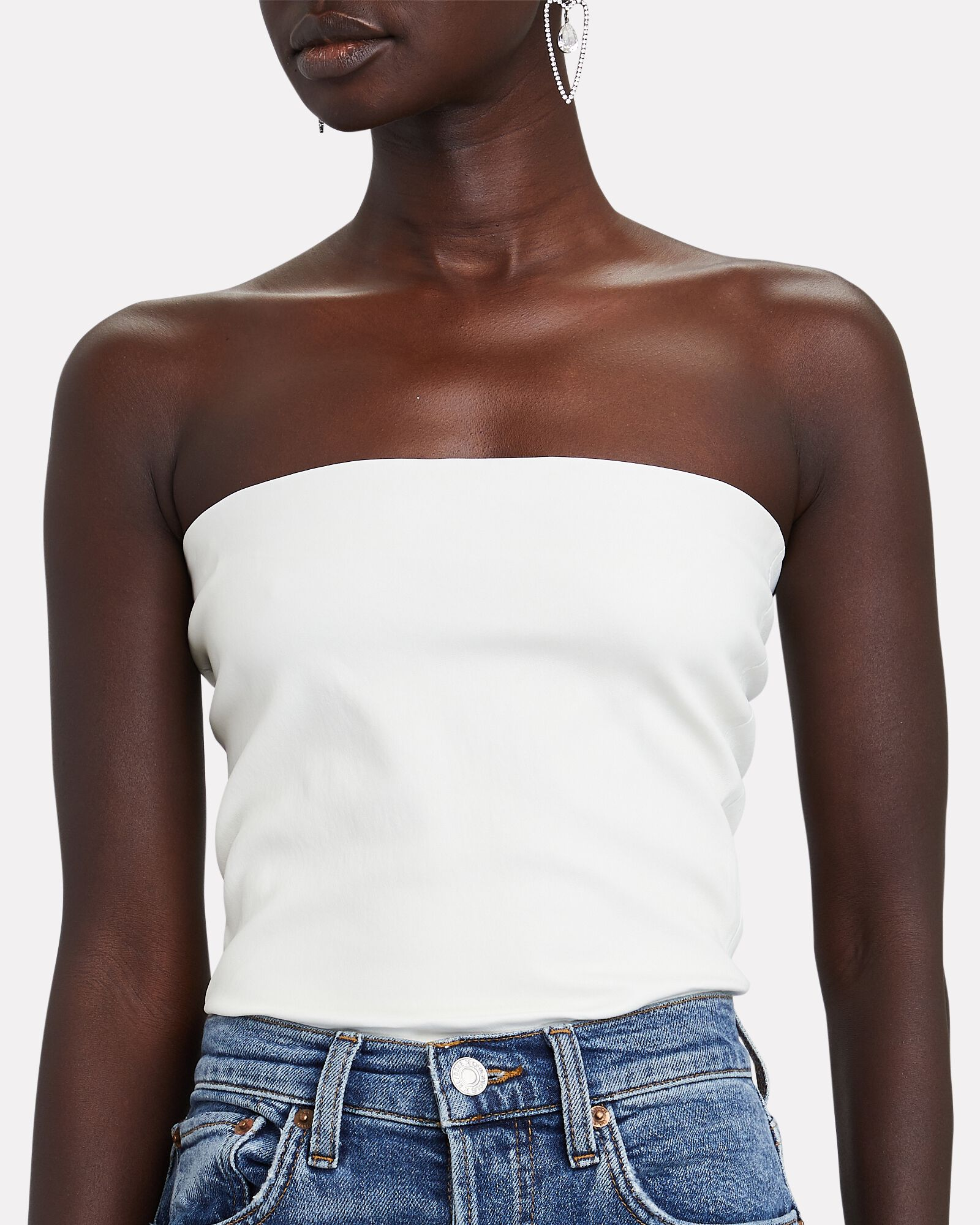 Strapless Leather Top, WHITE, hi-res