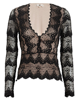 Stretch Lace Top, BLACK, hi-res