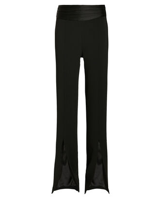 Satin Combo Front Slit Pants, BLACK, hi-res