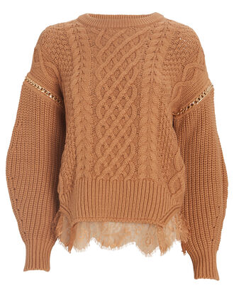 Lace-Trimmed Cable Knit Sweater, BROWN, hi-res