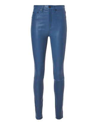 Blue Skinny Leather Pants, BLUE-DRK, hi-res