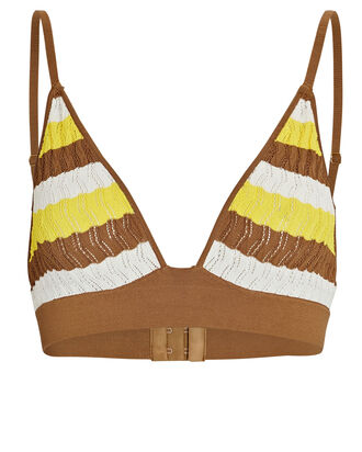 Robin Striped Pointelle Bralette, BROWN/YELLOW, hi-res