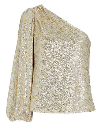 Felicity Sequined One-Shoulder Top, GOLD, hi-res