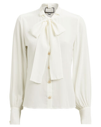Aruca Silk Pearl Blouse, WHITE, hi-res