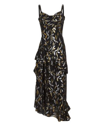 Metallic Silk Chiffon Midi Dress, BLACK, hi-res