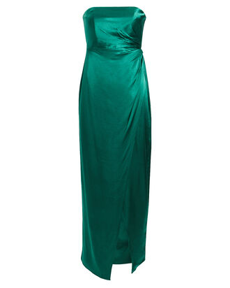 Aberdeen Strapless Satin Dress, TEAL, hi-res