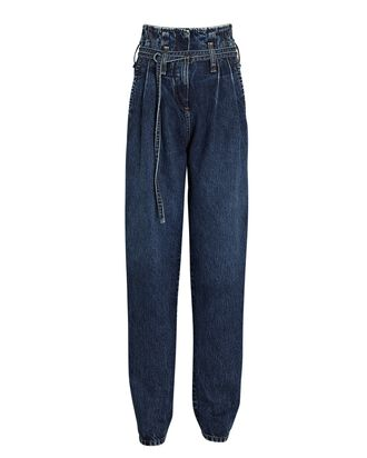 Archa Tapered Paperbag Jeans, DARK WASH DENIM, hi-res