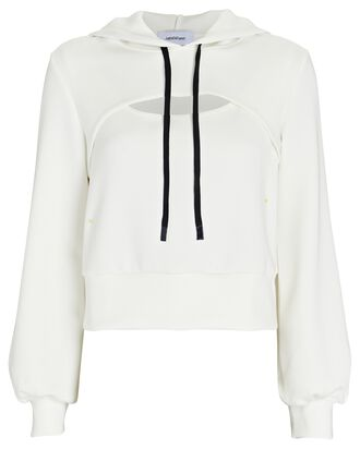 Cut-Out Hooded Sweatshirt, IVORY, hi-res