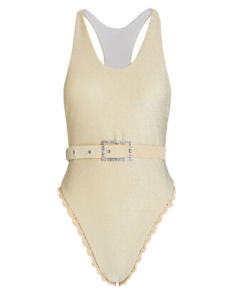 Gia Belted Lurex One-Piece Swimsuit, , hi-res
