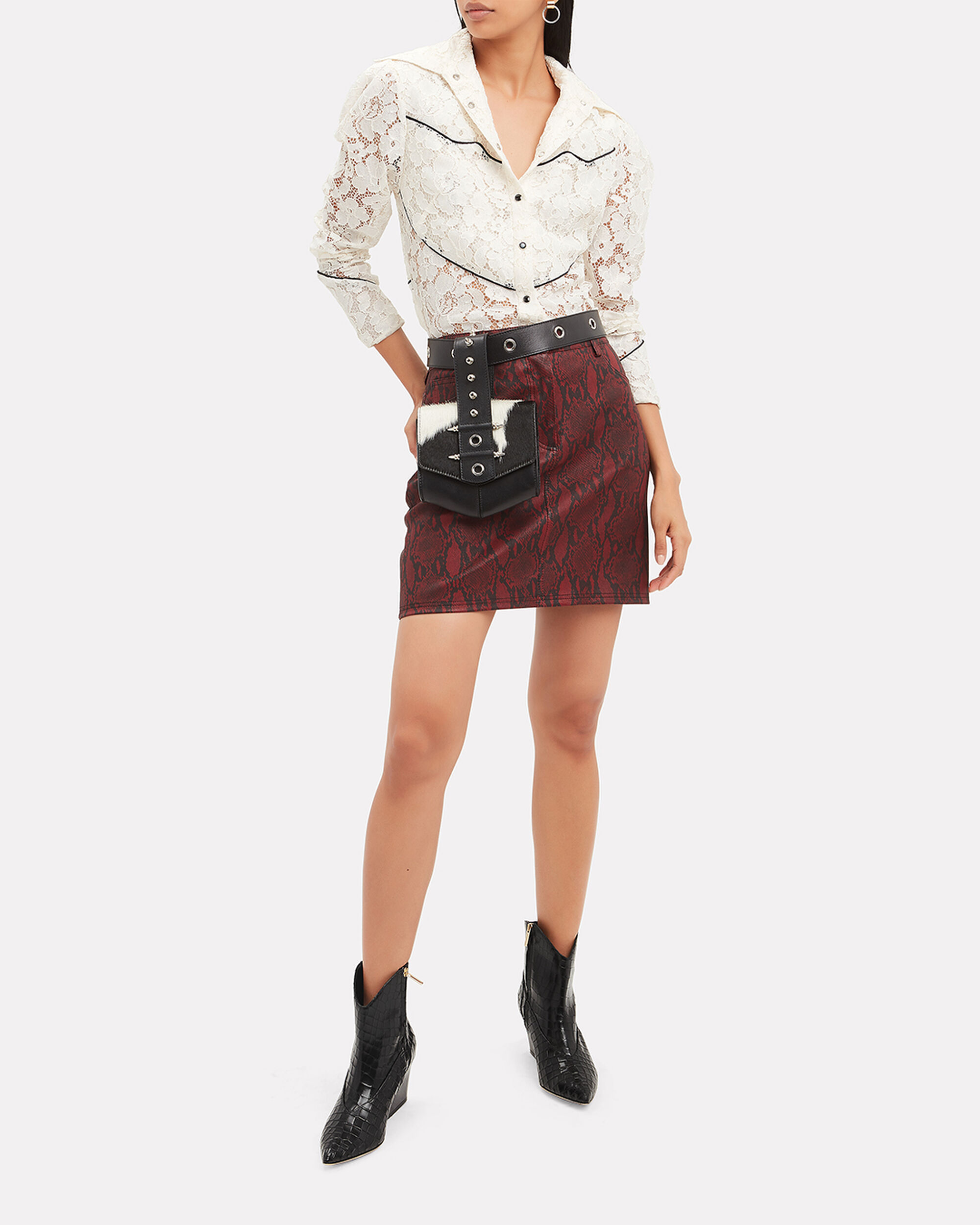 Western Lace Blouse, IVORY, hi-res