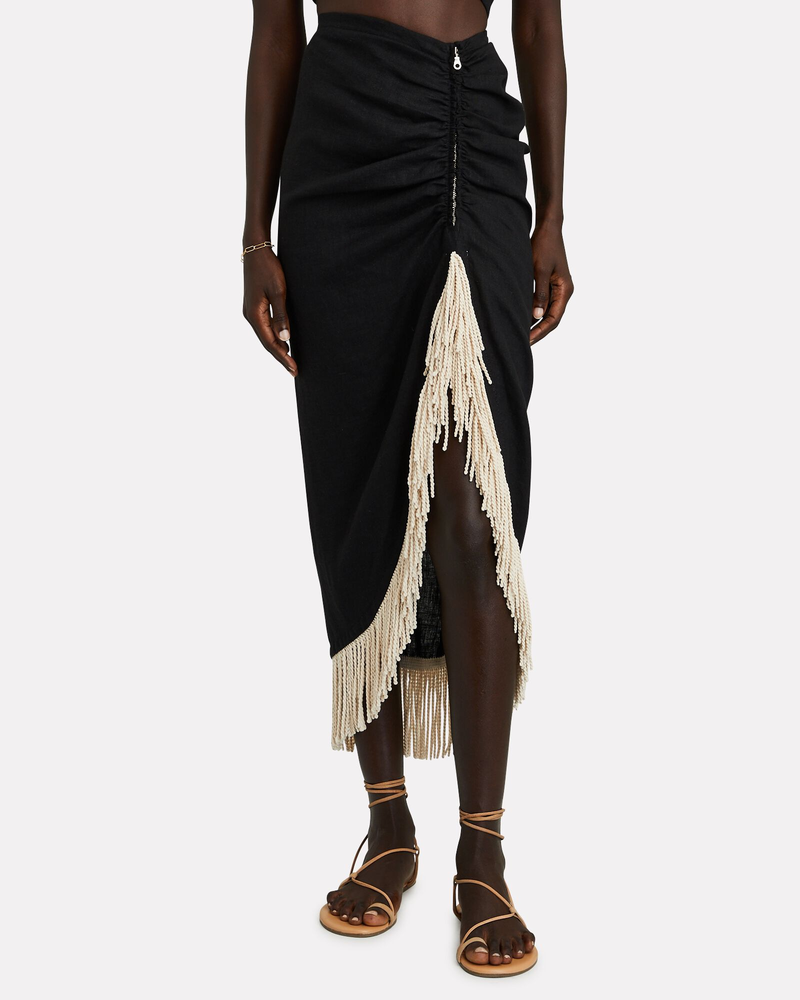 Mallorca Fringed Linen Midi Skirt, BLACK, hi-res