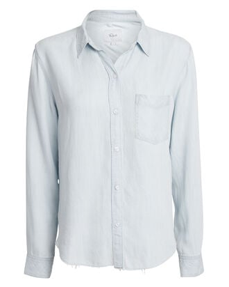 Ingrid Raw Hem Button Down Shirt, DENIM-LT, hi-res