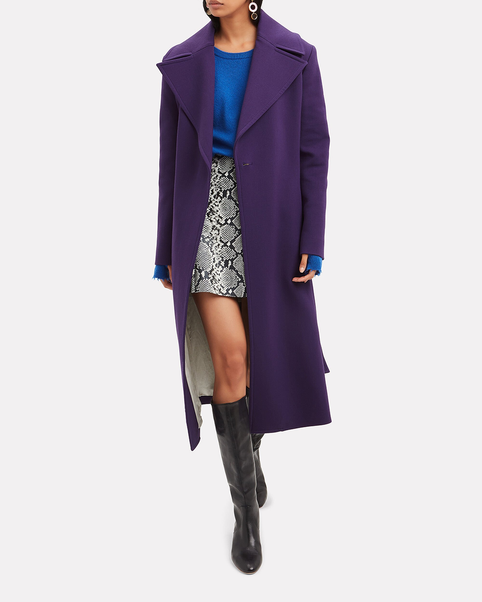 Belted Purple Trench Coat, PURPLE, hi-res