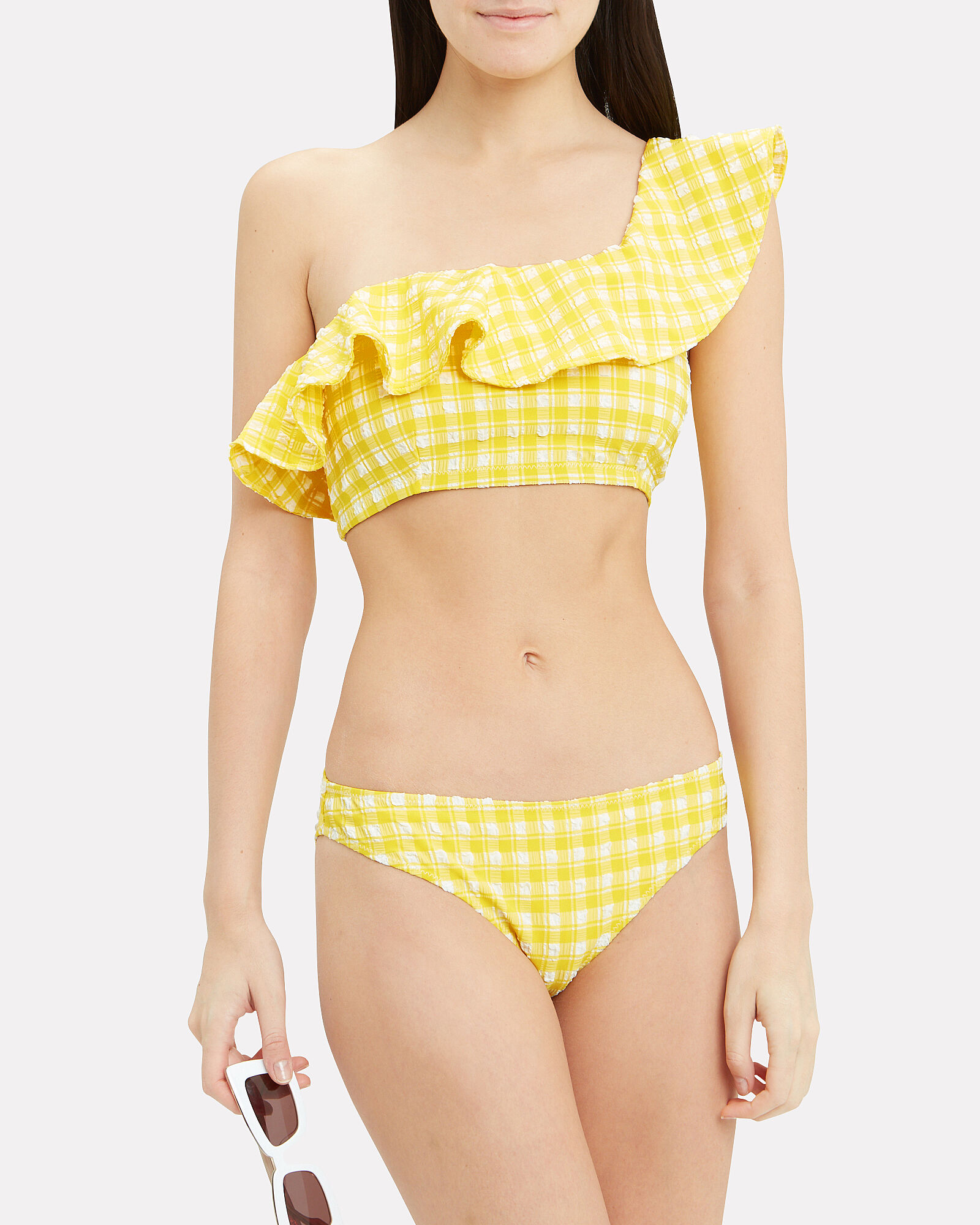 Yellow Seersucker One Shoulder Bikini Top, YELLOW, hi-res