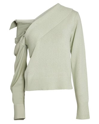 Joffe Satin Sleeve Sweater, MINT, hi-res