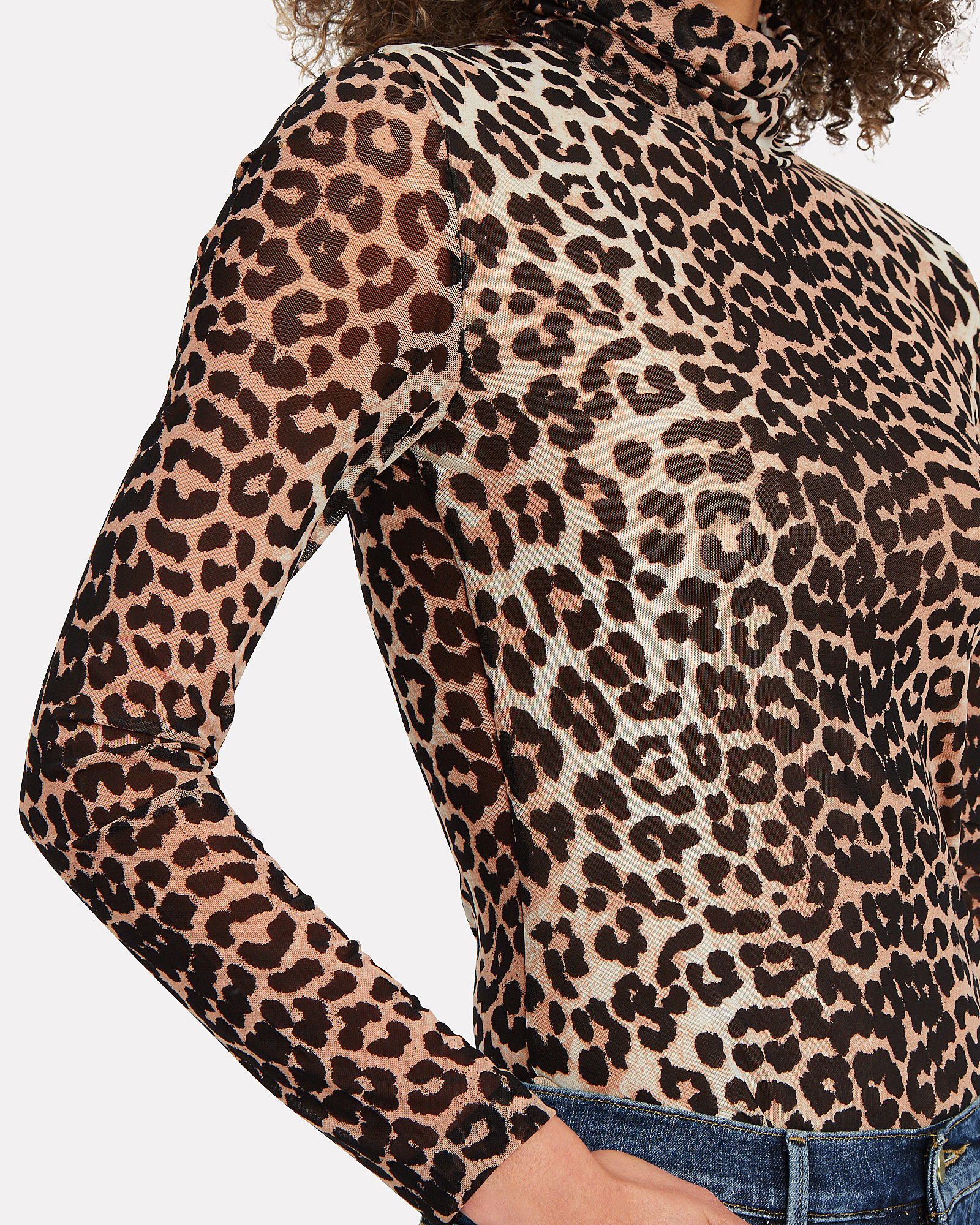 Leopard Printed Mesh Turtleneck Top, BLACK/BEIGE LEOPARD, hi-res