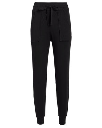 Black Ribbed Joggers, BLACK, hi-res