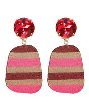 Constanza Square Stripe Earrings, PINK/STRIPES, hi-res