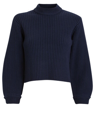 Merino Rib Slit Sweater, NAVY, hi-res