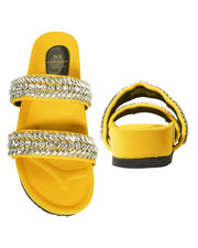 Crystal-Embellished Yellow Slides, YELLOW, hi-res